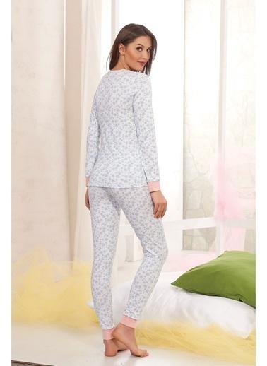 Sevim Baskılı Pijama Takım Beyaz